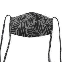 Fidella Mundbind-Dancing Leaves Black/White med bindbånd-0