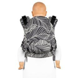 fidella_fusion_2.0_fullbuckle_baby_carrier_Toddler_dancing_leaves_black_white_sort_hvid_bæresele_vikle_slynge