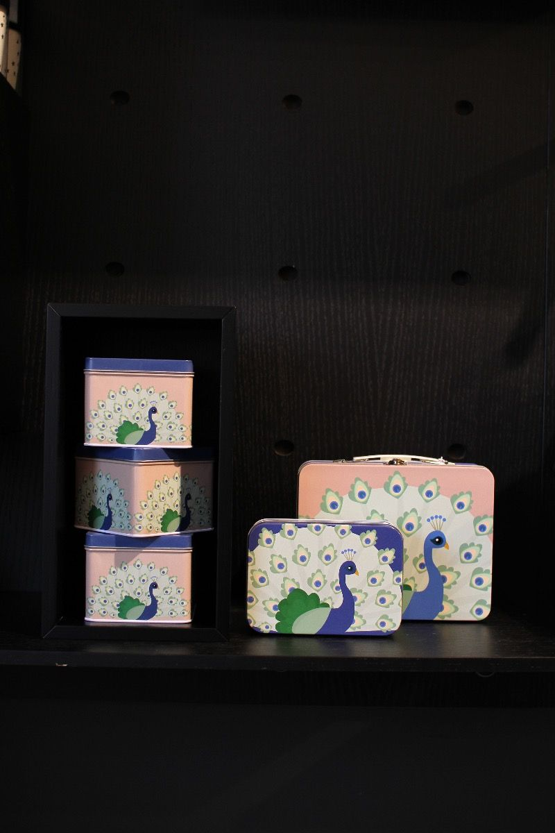 Lille tin boks Påfugl (Blå)-798
