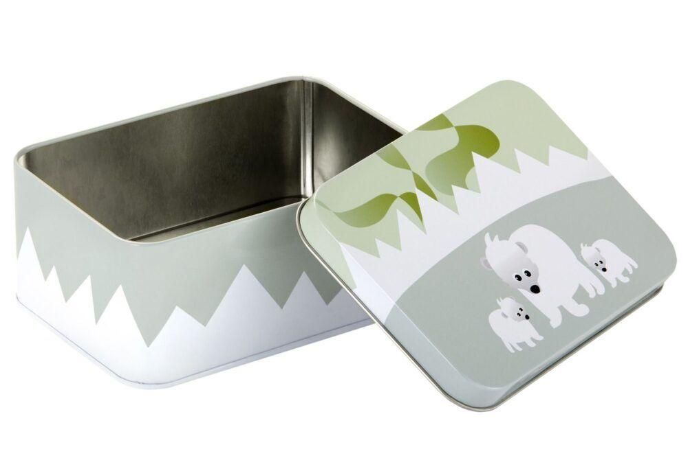 Aflang tin boks polar (grøn/hvid)-531